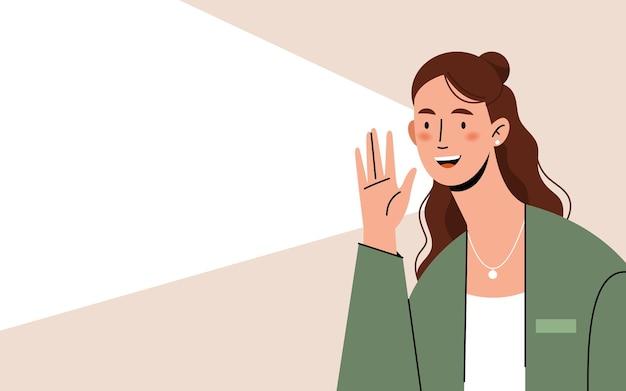 Женщина кричит с пустым пространством для текста с рекламой или объявлением. кричать, подчеркивать важное, объявлять, привлекать внимание.