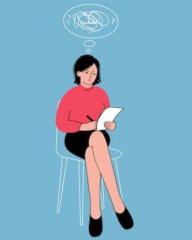 여자는 그녀의 손에 노트북과 함께 앉아있다. 혼란스러운 생각의 구름. 정신 건강의 개념.