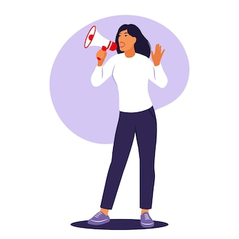Woman is speaking into a megaphone. announcement, warning concept. vector illustration. flat.