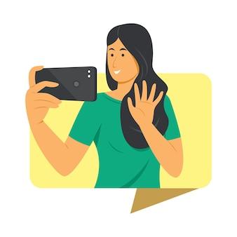 여자는 휴대 전화로 영상 통화