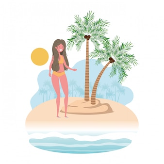 Woman on island with swimsuit and palms
