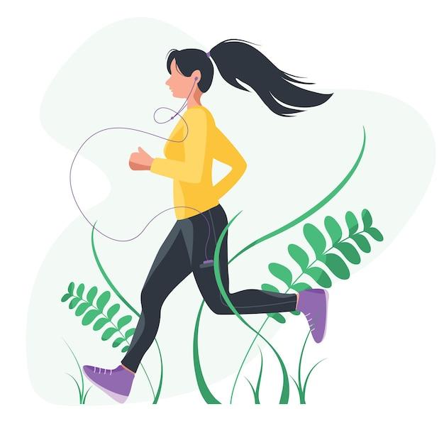 ジョギングをしている女性。ほっそりした体、健康的なライフスタイルを持つ女の子。