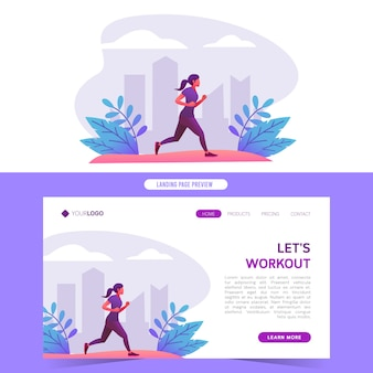 Woman jogging running healthy exercising in the park vector illustration for web site home landing page and banner