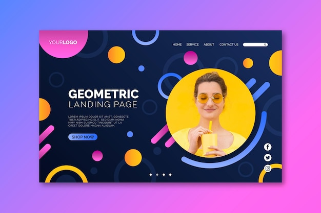 Woman and juice landing page