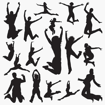 Woman jumping silhouettes