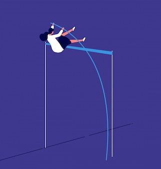 Woman jumping up. businesswoman overcomes career obstacle. progressive workflow risk investition. female human resource  concept