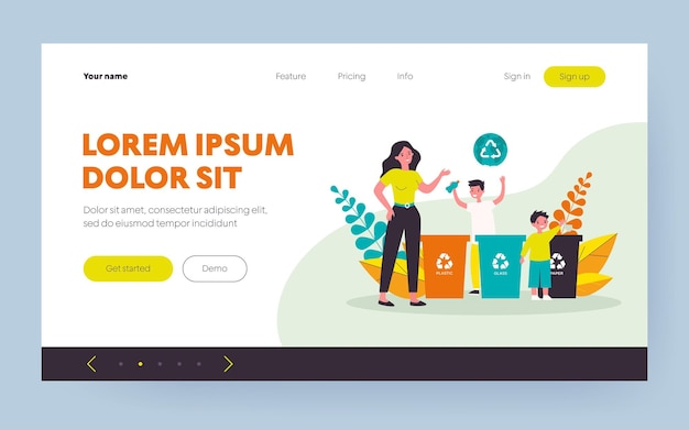 Woman and kids sorting garbage together. plastic, glass, paper flat vector illustration. environment and ecology protection concept for banner, website design or landing web page