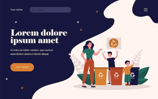 Woman and kids sorting garbage together. plastic, glass, paper flat vector illustration. environment and ecology protection concept for banner, website design or landing web page Premium Vector