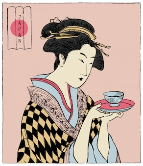 Woman in a kimono holding a teacup. japanese traditional style.