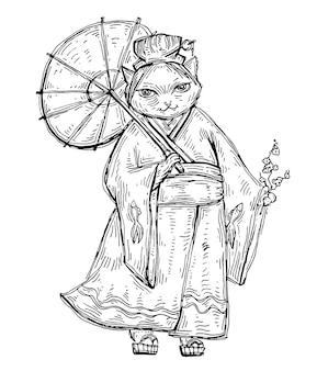Woman in kimono with umbrella. color flat cartoon illustration.