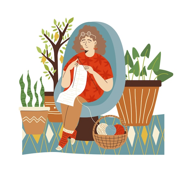 Woman knitting in comfortable interior of green home garden with houseplants in pots, flat vector illustration. home jungle and houseplanting concept.