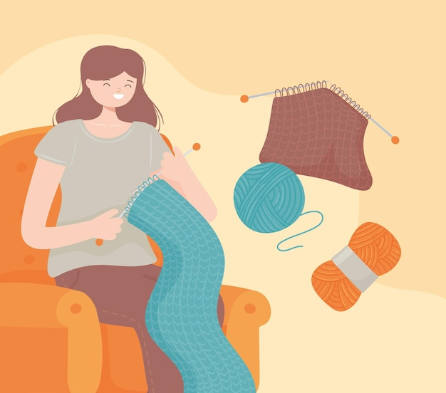 실 공으로 뜨개질을 하는 여자