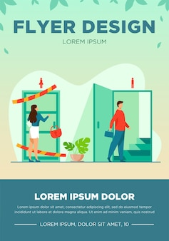Woman knocking to locked and closed door flat vector illustration. man entering open door and walking up stairs. inequality in career, business opportunities. social problem and discrimination flyer template