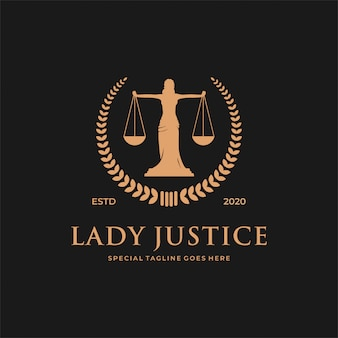 Концепция логотипа закона женщины / леди.