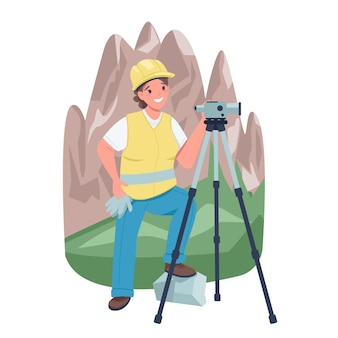 Землемер женщина возле гор плоский цвет подробный характер. женщина, работающая с геодезическим инструментом, изолировала иллюстрации шаржа для веб-графического дизайна и анимации