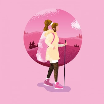 Woman in landscape nature pink scene