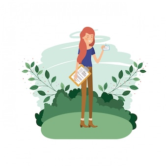 Woman in landscape with curriculum vitae