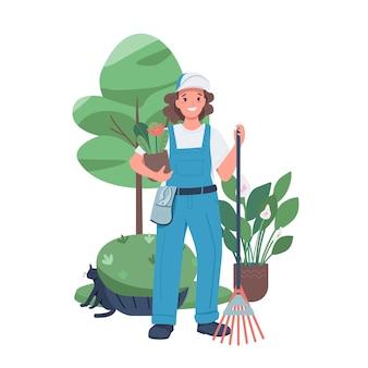 여자 조 경사 평면 색상 자세한 문자. 정원에서 일하는 여성. 고용 된 아가씨. 웹 그래픽 디자인 및 애니메이션에 대한 조경 디자이너 격리 된 만화 그림