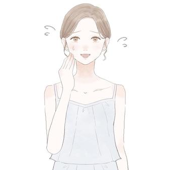 愛想よく笑っている女性。白い背景に。