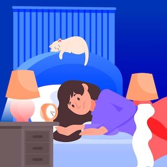 여자가 침대 불면증 개념에 누워