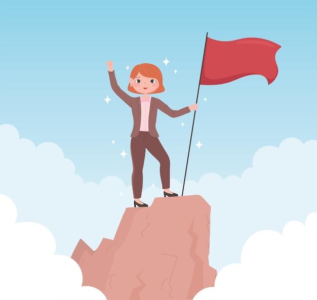 피크 비즈니스 성공에 플래그로 여성 리더십