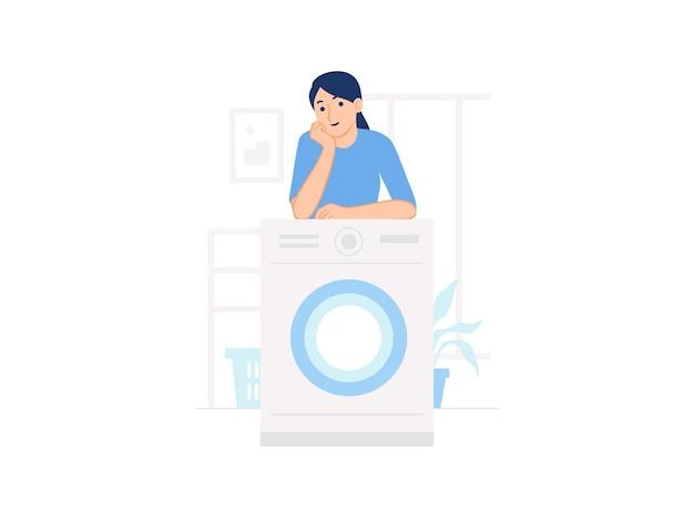 Женщина, опираясь женщина, опираясь на стиральную машину в прачечной дома иллюстрации концепции
