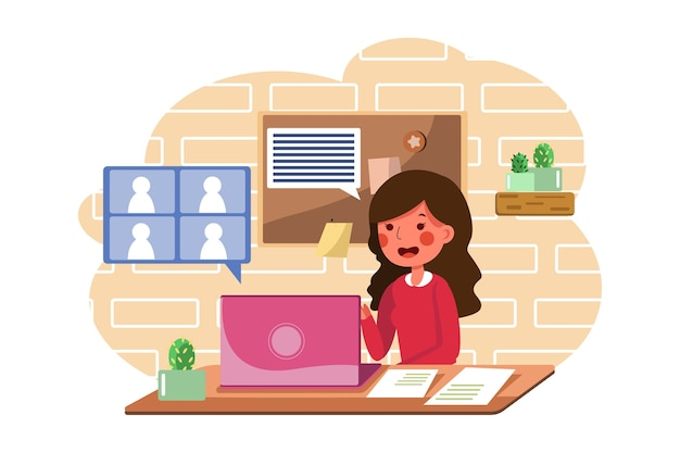 The woman learn communication skills with online class.