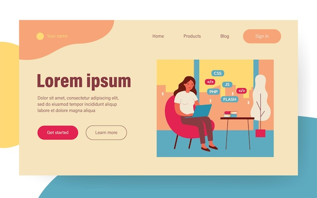 Woman learning web design. girl with laptop, stack of books flat vector illustration. programming, education, online course concept for banner, website design or landing web page