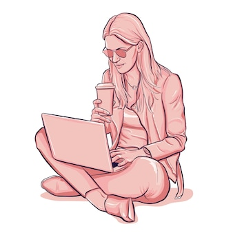 Woman in leather jacket sitting and working on laptop drink cofee