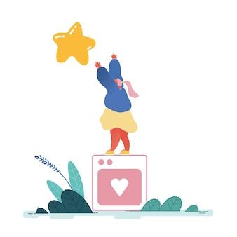 Женщина, оставившая лучший звездный рейтинг. люди характеризуют опыт и удовлетворение, положительные отзывы, рейтинговую работу, обзор и оценку продукта или услуги. современная квартира