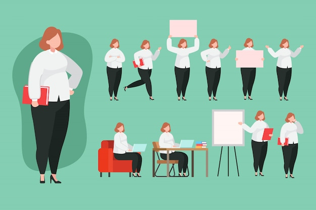 Женщина лектор набор символов плоской иллюстрации