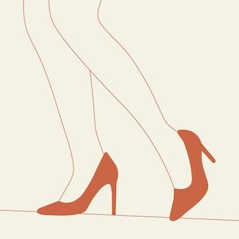하이 힐 신발에 여자 다리