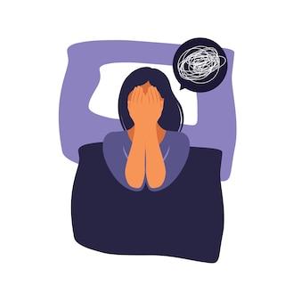 여자는 침대에 누워 생각합니다. 우울증, 불면증, 좌절, 외로움, 문제의 개념.