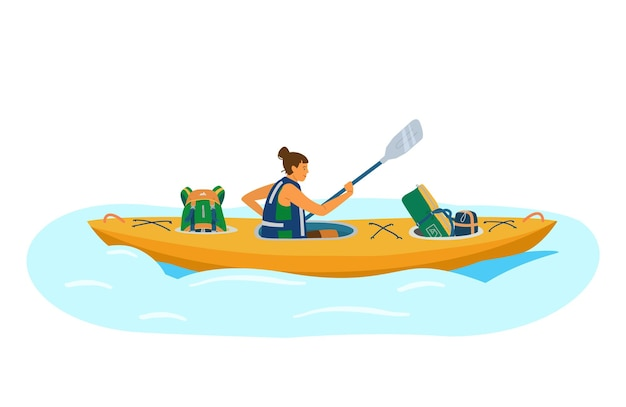 Woman in life jacket rows in kayak with tourist equipment.