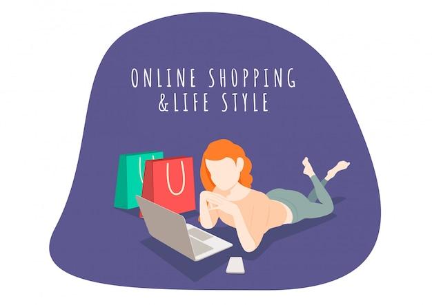 여자 라이프 스타일 문자 휴대 전화 및 노트북으로 온라인 쇼핑. 온라인 쇼핑 및 마케팅.