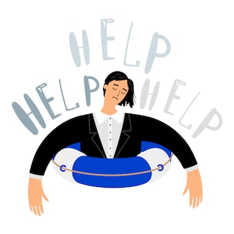 Woman in lifebuoy call for help
