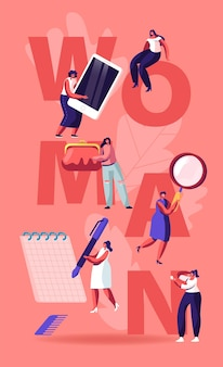 여성 라이프 스타일 개념입니다. 다른 도구를 들고 작은 여성 캐릭터. 만화 평면 그림