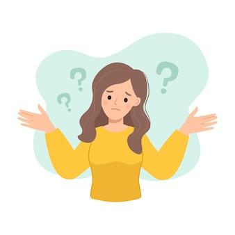 Женщина поднимает руки с растерянным выражением лица концепция неопределенности и сомнения