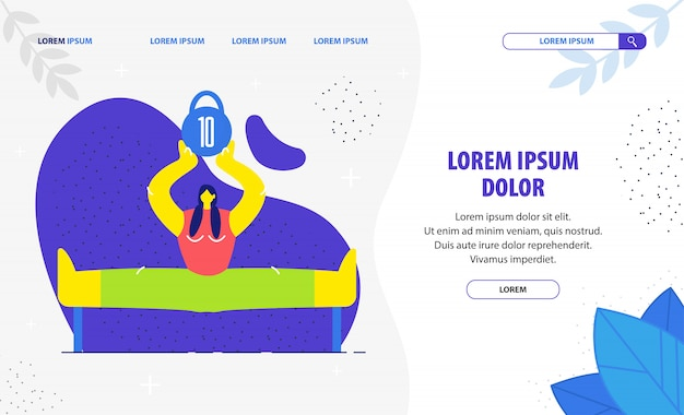 Woman lifting dumbbell flat landing page template