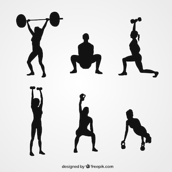 Woman lifting weight silhouettes collection