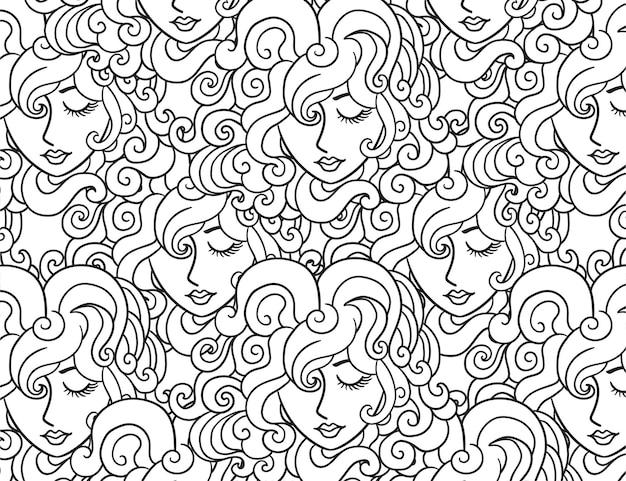 女性の線画パターン