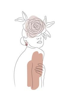 Женщина рисования линий цветок голова девушка