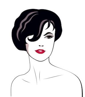 暗い短い髪型の女性の線形の肖像画
