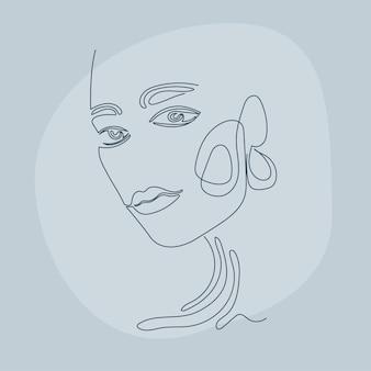 Предпосылка картины портрета lineart женщины. line drown artwork для плаката салона красоты, карточки косметологического центра, футболки, флаера для вечеринки для девочек и т. д.