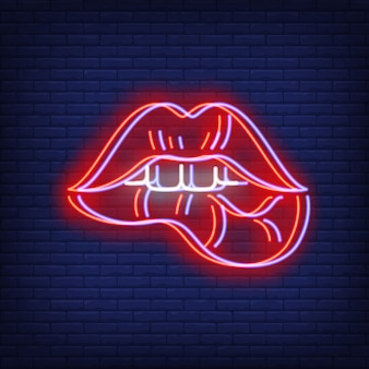 Woman lips biting neon sign with chromatic aberration effect