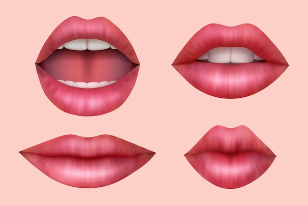 Woman lips. realistic smile mouth juicy kiss beauty salon symbols white teeth vector set. illustration glamour red woman lips, collection bright lady portrait