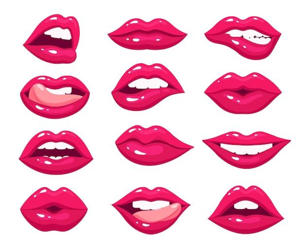 女性の唇。赤いセクシーな口、口紅のメイクで女性のピンクのキス。熱い女の子は唇の舌を開きます。孤立したグラマースマイルバイトベクターセット。女性の口紅メイク、キスと笑顔の女の子の唇のイラスト