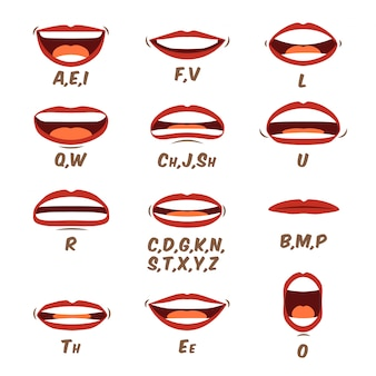 Woman lips and tongue sync set for animation and sound pronunciation. female human mouth cartoon collection in a flat cartoon style. character face elements. illustration in a trendy design.