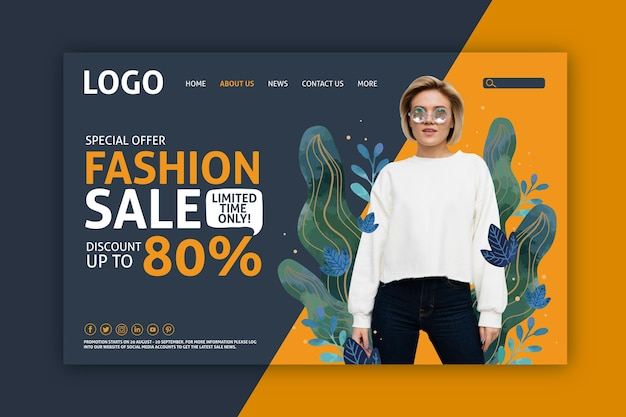 Woman and liquid effect leaves landing page fashion sale