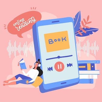 Woman listening to an audiobook with headphones audiobooks concept online book mobile application fo...